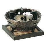 炭用岩丸コンロ(いぶし銅) 黒渕敷板16.5角付
