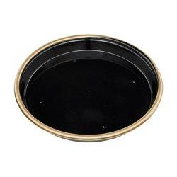 画像1: 寿司桶 新6人桶(P)V 金フチ黒 本体・透明フタセット 10枚