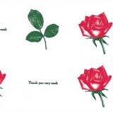 包装紙 赤いバラ 201厚口 4/6半切